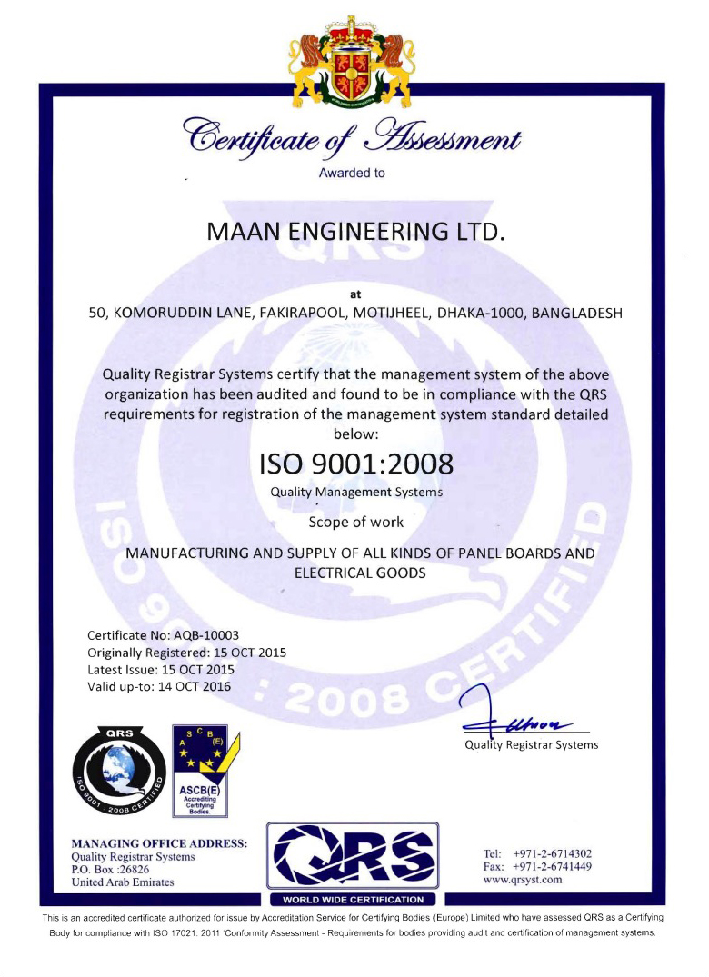 Maan Engineering ISO Certificate